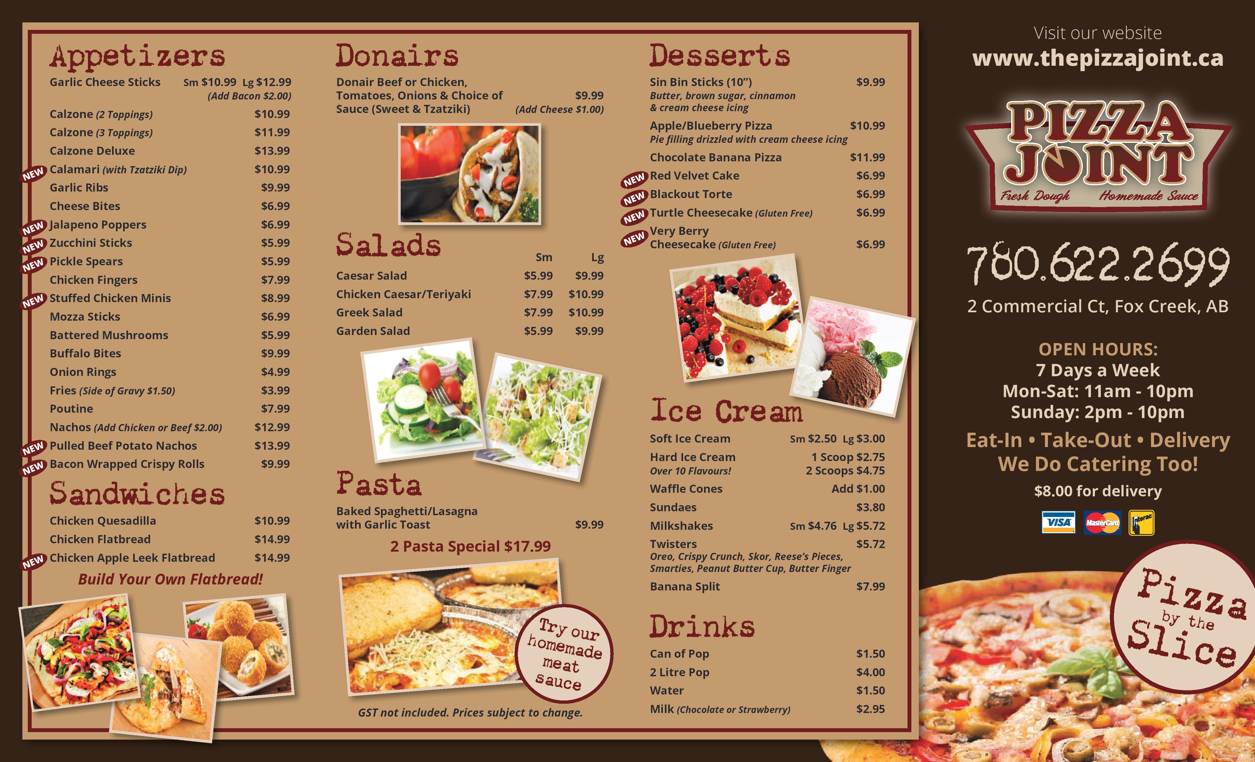 Menu The Pizza Joint – Menu
